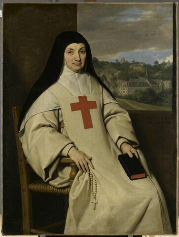 Mère Angélique Arnauld (1591-1661), abbesse de Port-oyal. Au fond, vue de Port-Royal des Champs