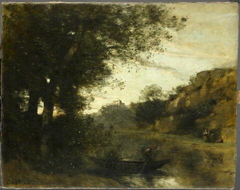 Le passeur. Souvenir de l'étang Moutier aux environs de Montfermeil (Seine-Saint-Denis).