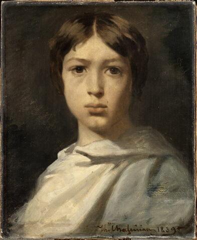 Portrait de jeune garçon. Le broyeur de couleurs de l'artiste.