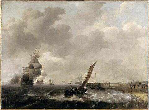 Bateaux hollandais au large d'une côte sableuse