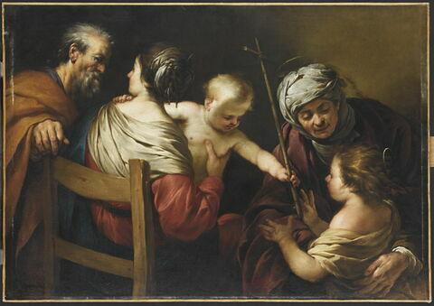 La Sainte Famille avec sainte Élisabeth et le petit saint Jean Baptiste à qui l'Enfant donne une croix de roseau