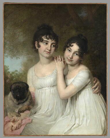 Portrait des princesses Elena (1787-1869) et Alexandra (1788-1819) Kourakine, avec leur chien, 1802