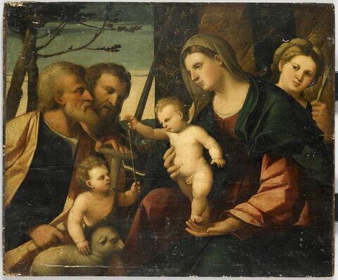 La Sainte Famille avec le petit saint Jean Baptiste, entre saint Paul et sainte Ursule