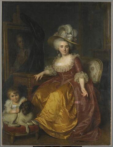 Madame Vestier ayant à ses pieds un enfant qui pince l'oreille d'un chien