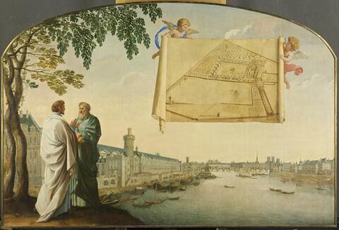 Plan de la chartreuse de Paris porté par deux anges