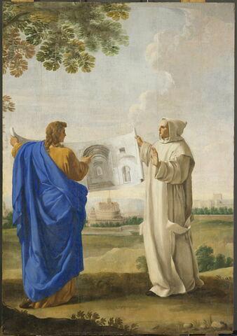 Saint Bruno examine un dessin des thermes de Dioclétien, emplacement de la future chartreuse de Rome