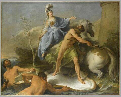 Dispute de Minerve et de Neptune pour donner un nom à la ville d'Athènes.
