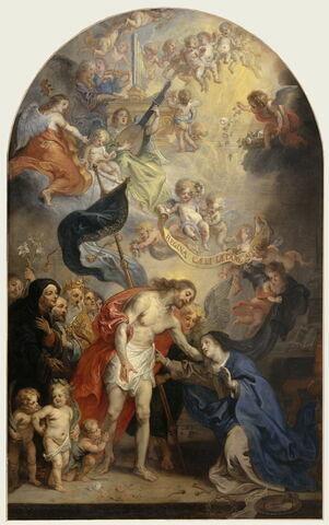 Le Christ ressuscité, vainqueur de la mort,  apparaissant à la Vierge Marie, reine des cieux