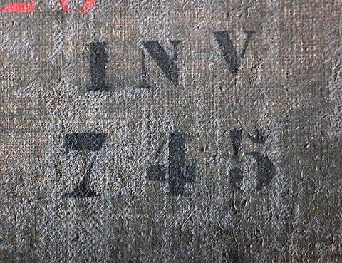 dos, verso, revers, arrière ; détail marquage / immatriculation © 2019 Musée du Louvre / Peintures