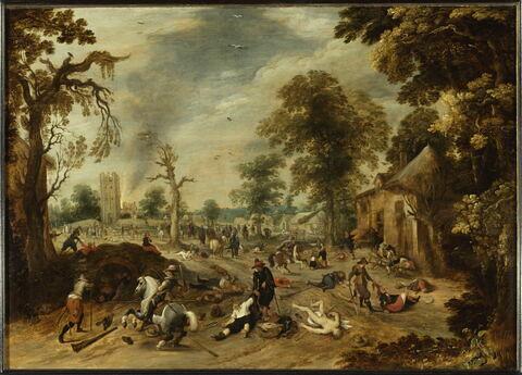 Pillage d'un village dit aussi L'Incendie de Wommelgen près d'Anvers en 1589