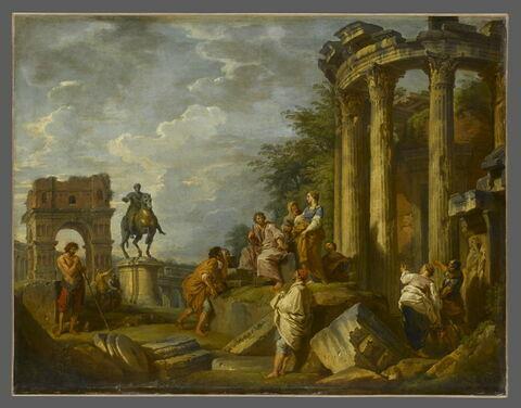 Ruines d'architecture avec l'arc de Janus, le temple de Vesta et la statue équestre de Marc-Aurèle
