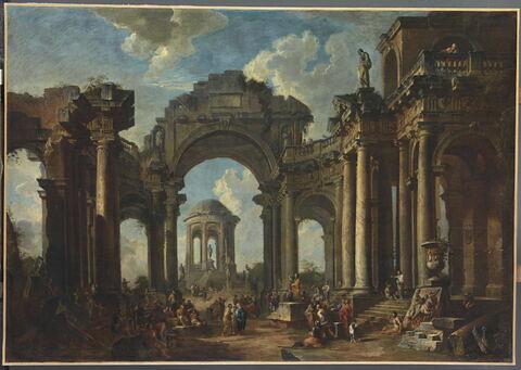 La Prédication d'un apôtre dans des ruines d'architecture d'ordre dorique