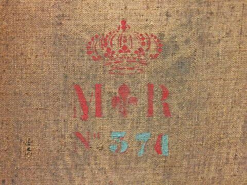 dos, verso, revers, arrière ; détail marquage / immatriculation © 2015 Musée du Louvre / Peintures