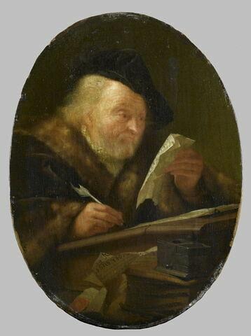 Vieillard écrivant et lisant une lettre