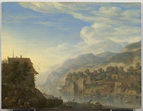 Vue des bords du Rhin; paysage de fantaisie