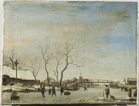 Canal (ou rivière?) gelé avec patineurs et joueurs de hoquet