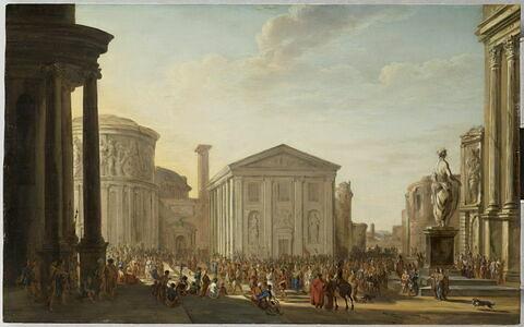 Vue d'architectures antiques avec une foule en cortège