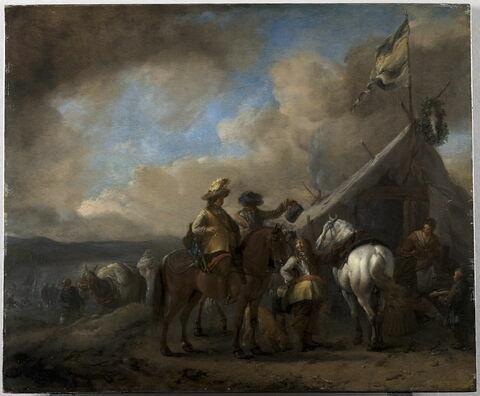 Militaires à cheval faisant halte devant la tente-auberge d'une cantinière