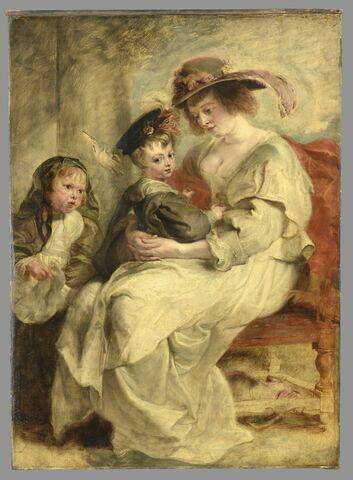 Portrait d'Hélène Fourment (1614-1673), la deuxième femme de l'artiste, et leurs enfants, Clara Johanna (née en 1632) et Frans (né en 1633)