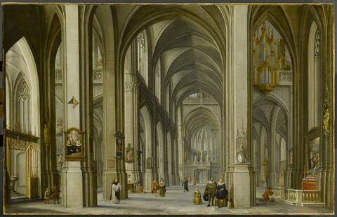 Intérieur d'église avec famille au premier plan