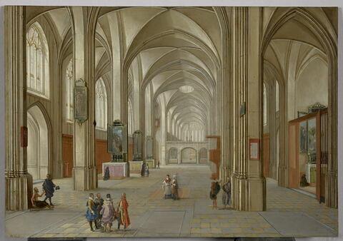 Intérieur d'église avec visiteurs