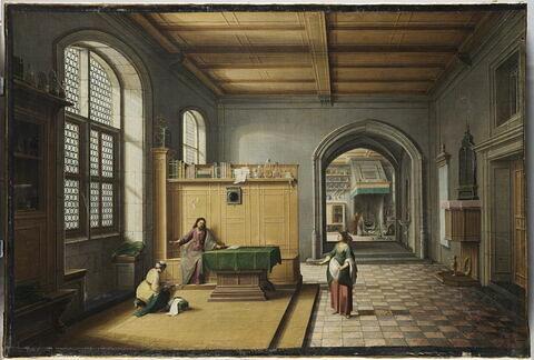 Jésus chez Marthe et Marie, dans une perspective d'architecture