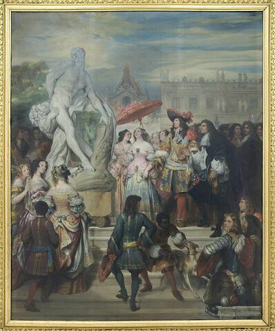 Puget présentant sa statue de Milon de Crotone à Louis XIV, dans les jardins de Versailles