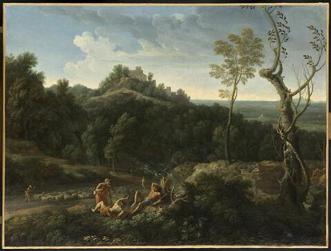 Paysage avec trois bergers et un troupeau de moutons