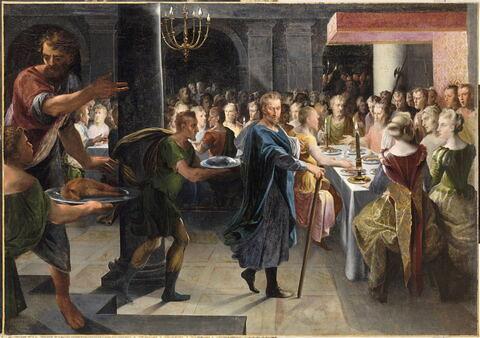 Dicé offrant un banquet à Francus, en présence de Hyante et de Climène (Ronsard, La Franciade, second livre.