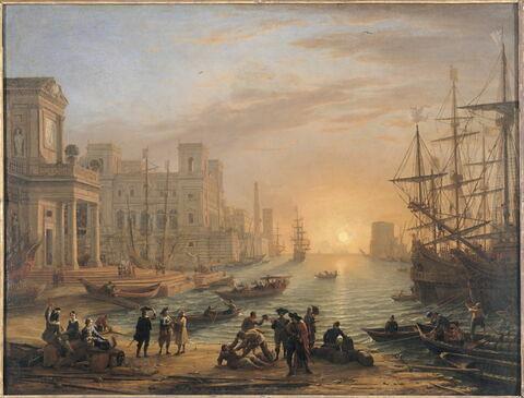 Port de mer au soleil couchant