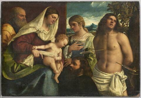 La Sainte Famille avec sainte Catherine d'Alexandrie, saint Sébastien et un donateur