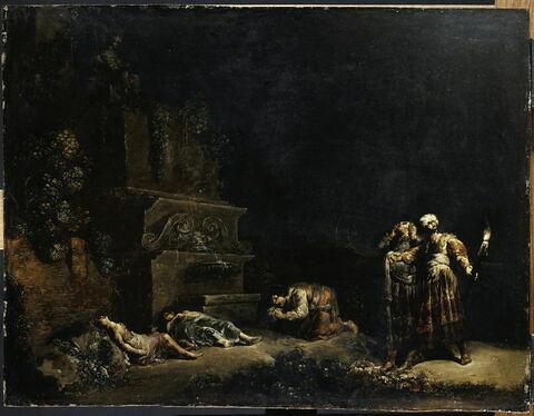 Les parents de Pyrame et de Thisbé découvrant les cadavres de leurs enfants