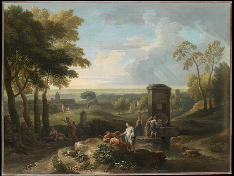 Paysage avec fontaine et diverses figures. Vue d'Italie