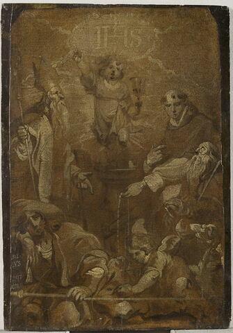 L'Enfant Jésus en gloire entouré de quatre saints