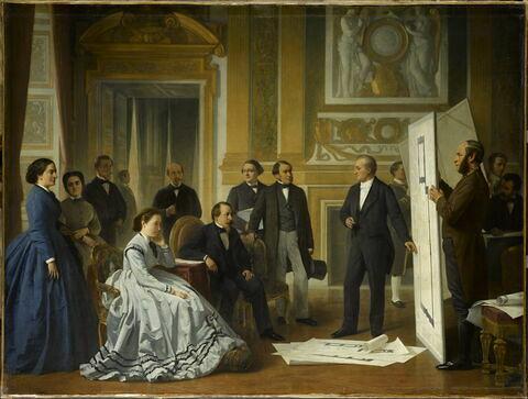 Visconti présente à Napoléon III les plans du 'nouveau Louvre', 1853