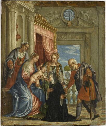 La Sainte Famille avec sainte Élisabeth, sainte Marie-Madeleine présentant une bénédictine