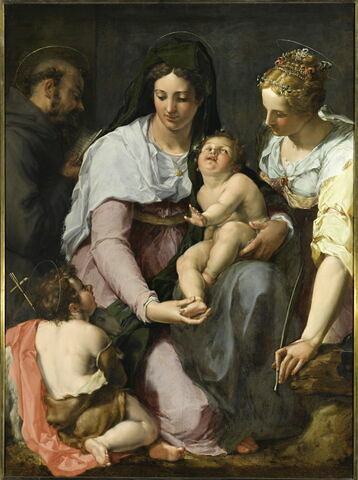 La Vierge et l'Enfant Jésus entourés des saints Jean Baptiste, François d'Assise et  Catherine d'Alexandrie