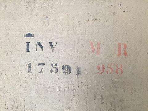 dos, verso, revers, arrière ; détail marquage / immatriculation © Musée du Louvre / Peintures