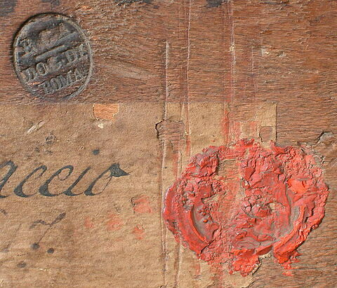 dos, verso, revers, arrière ; détail cachet © 2005 Musée du Louvre / Peintures