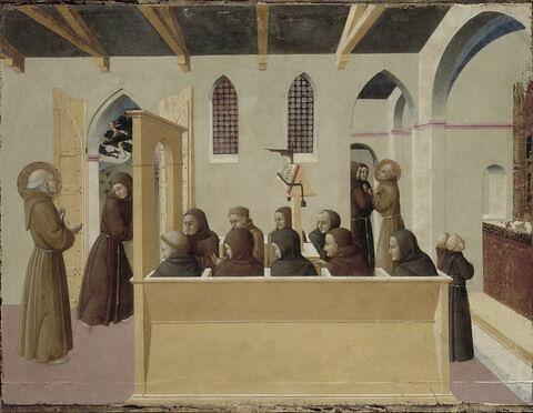 Le Bienheureux Ranieri Rasini montre aux frères réunis en prière l'âme de l'avare de Citerna emportée par les démons