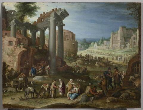 Ruines et figures. Marché dans un site inspiré par le Campo Vaccino à Rome