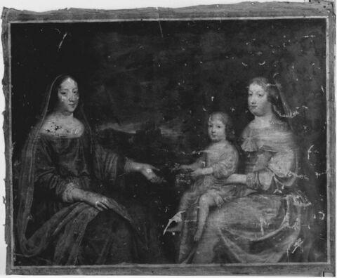 La reine mère Anne d'Autriche (1601-1666), la reine Marie-Thérèse (1638-1683) et le Grand Dauphin enfant (1661-1711)
