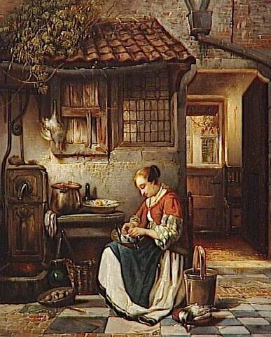 Femme plumant une volaille dans un intérieur