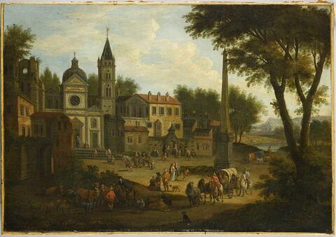 Carrefour avec église, couvent, obélisque et passants