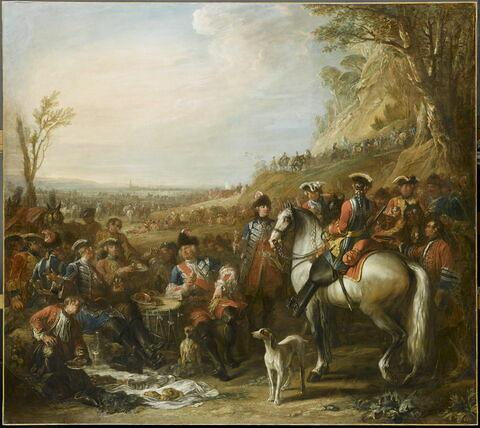 Halte de grenadiers à cheval de la Maison du Roi. Assis au centre, M. de Creil, leur commandant; au fond, la tranchée de Philippsbourg (juin 1734)