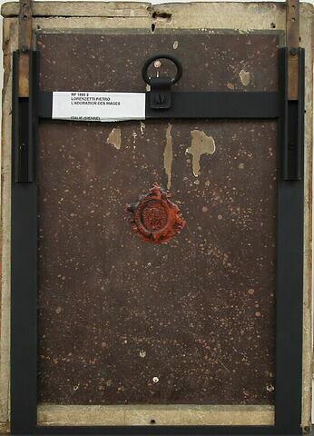 dos, verso, revers, arrière ; vue d'ensemble ; vue sans cadre © 2005 Musée du Louvre / Peintures