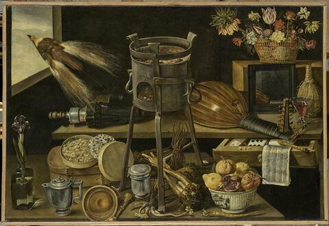 Les cinq sens et quatre éléments (avec objets aux armes famille Richelieu)
