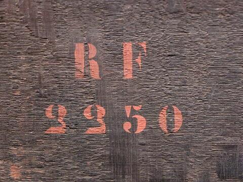 dos, verso, revers, arrière ; détail marquage / immatriculation © 2020 Musée du Louvre / Peintures