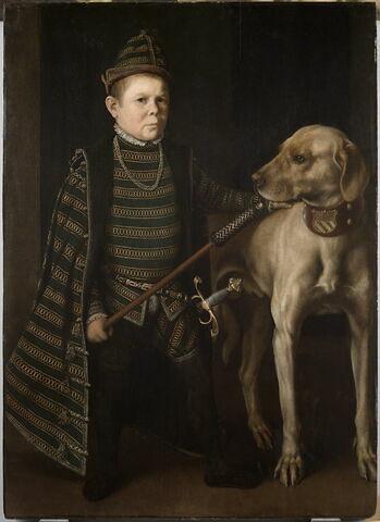 Portrait du nain du cardinal de Granvelle tenant un chien