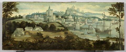 Vue d'une ville fortifiée avec un port